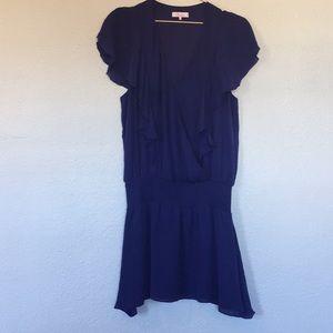 Parker M silk ruffle flutter dress